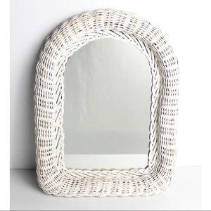 Vintage White Wicker Mirror Chic Wall Art 16 X 12